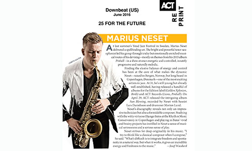 "Marius Neset selected among ""25 FOR THE FUTURE"" by Downbeat"